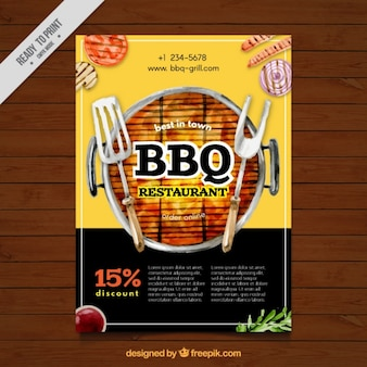 Barbecue watercolor brochure