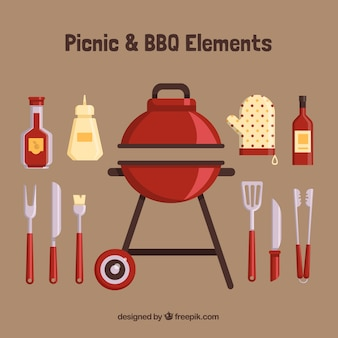 Barbecue with flat elements