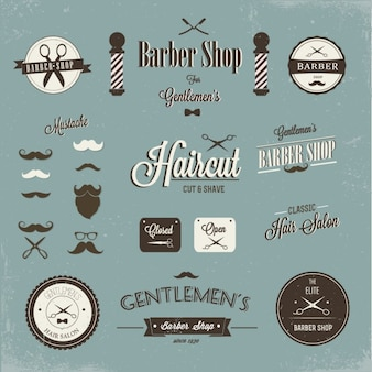 Barber shop label and logo design