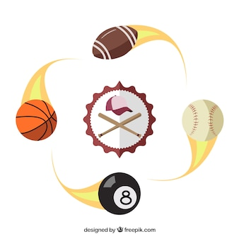 Baseball badge and sport balls