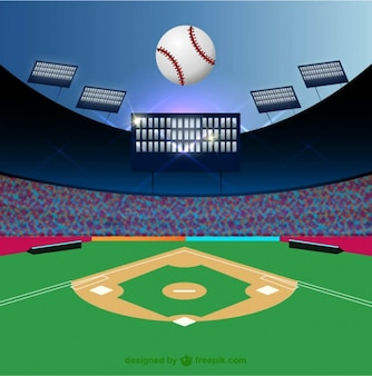 Baseball field and ball