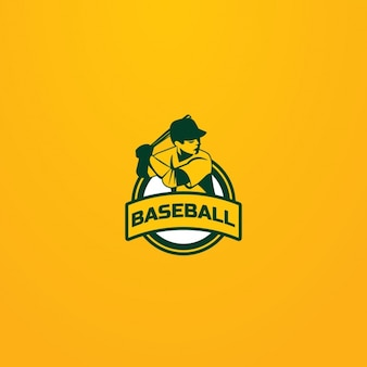 Baseball logo on a yellow background
