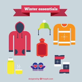 Basic winter clothing in flat design