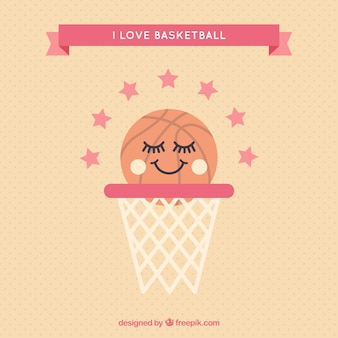 Basket background with lovely basketball ball