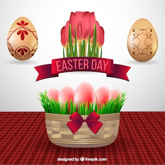 Basket background with ornamental easter eggs