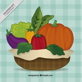 basket with healthy food background