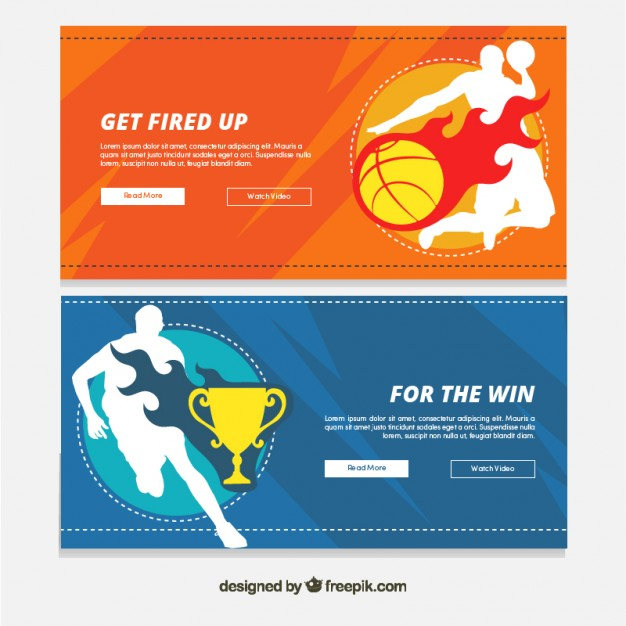 Basketball banners set with player silhouetes