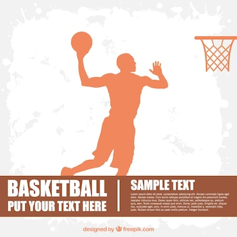Basketball player silhouette and ball