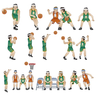 Basketball players characters collection