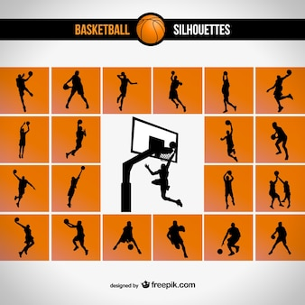 Basketball silhouette set