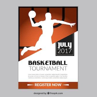 プレーヤーのシルエットを持つバスケットボールトーナメントのパンフレット