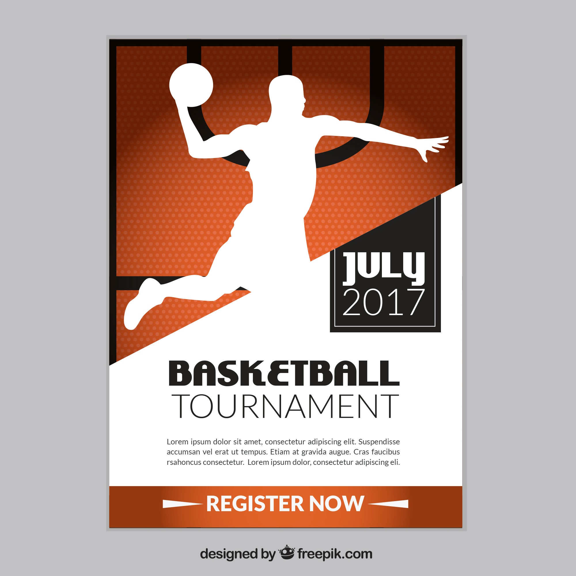Basketball tournament brochure with player silhouette