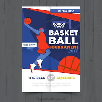 Basketball tournament brochure with player
