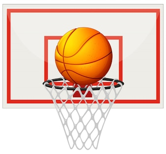 Basketball with basketball board and net illustration