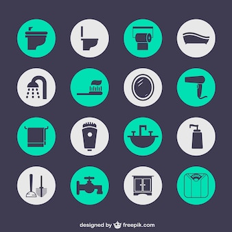 Bathroom elements icons
