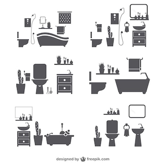 Bathroom silhouette icons
