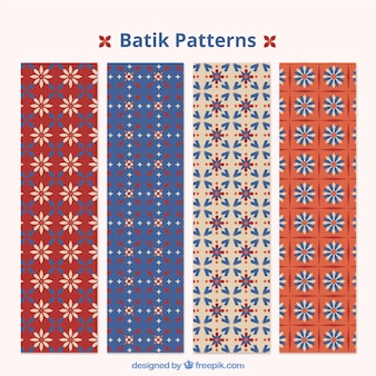 Batik decorative patterns set