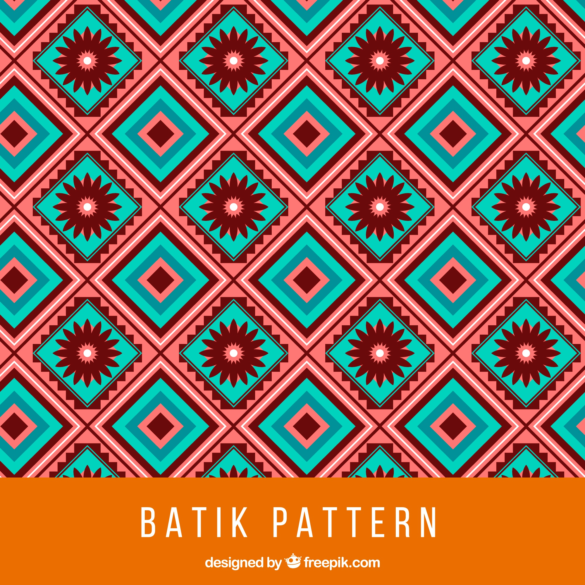 Batik pattern with squares and flowers