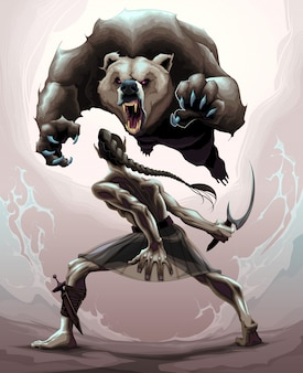Battle scene between an elf and an angry bear