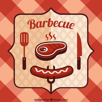 Bbq badge on a tablecloth background