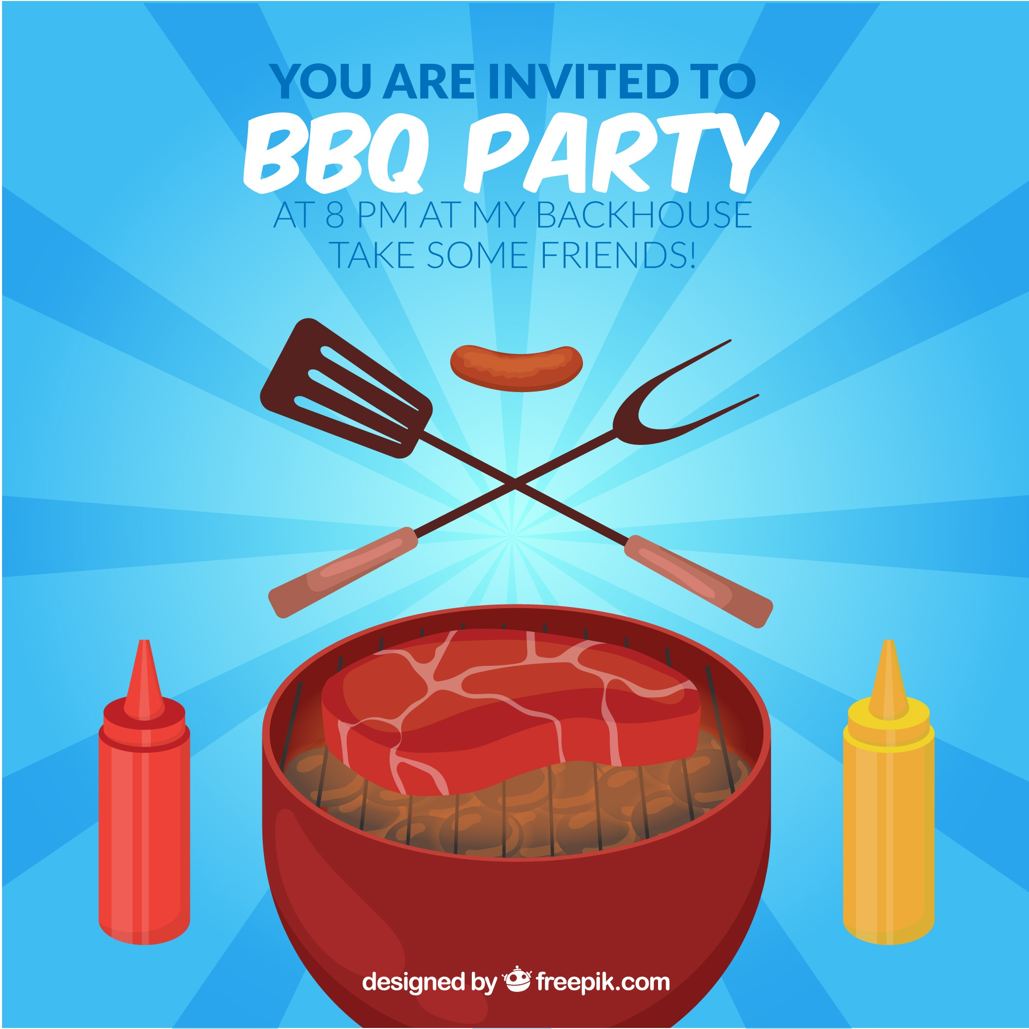 Bbq party invitation with grill