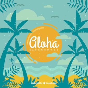 Beach aloha background with palm trees in vintage style