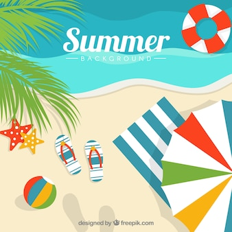 Beach background with decorative summer elements