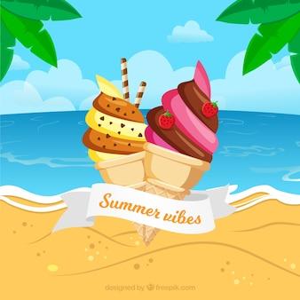 おいしいアイスクリームとビーチの背景