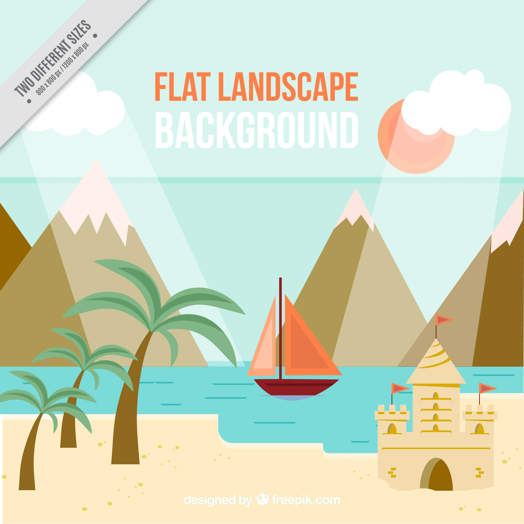 Beach background with mountains and boat in flat design