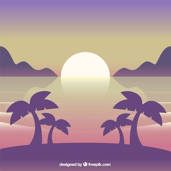 Beach background with palm trees at sunset