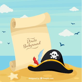 Beach background with parchment with hat