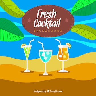 Beach background with three cocktails