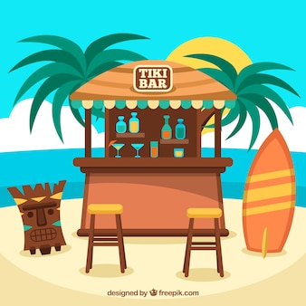 Beach background with tiki mask in flat design