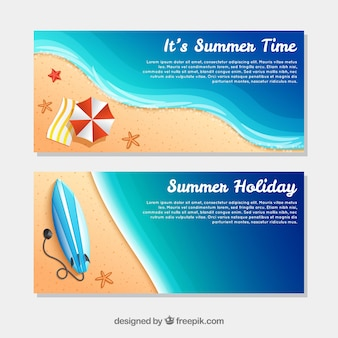 Beach banners with seashore and decorative items