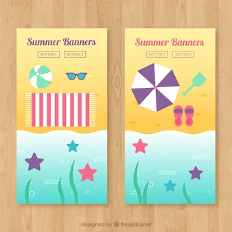 Beach banners with starfish and summer objects