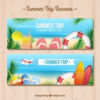 Beach elements banners