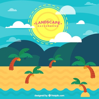 Beach landscape background with palm trees in flat design