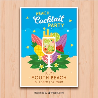 Beach party brochure with cocktail and fruits in flat design