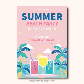 Beach party card in pastel tones