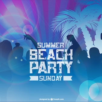 Beach party card with people silhouettes and palm trees