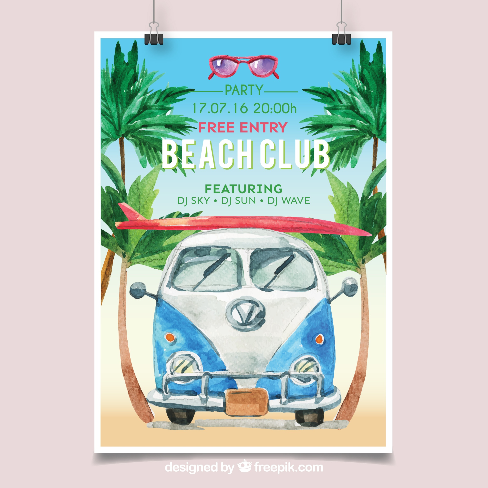 Beach party poster with watercolor van