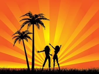Beach party silhouette