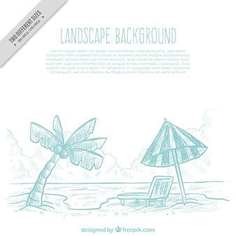 Beach sketch background with umbrella and palm tree