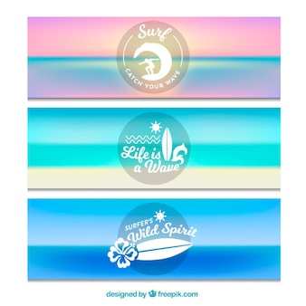 Beach surf banners set