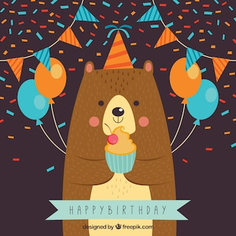 Bear background celebrating a birthday