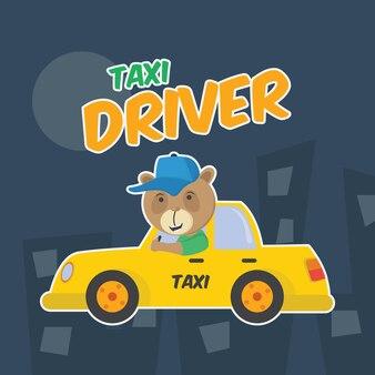 Bear driving a taxi