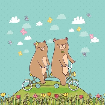 Bears riding a bike