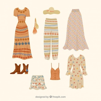 Beautiful and hippie clothes with accessories