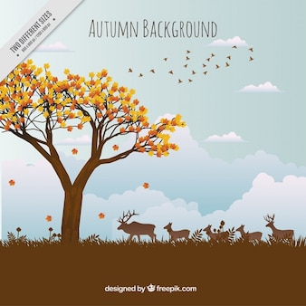 beautiful autumn landscape background with animals