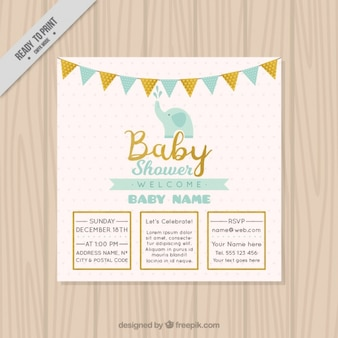 Beautiful baby shower invitation with elephant